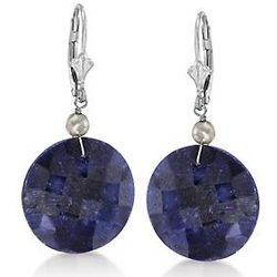 Sapphire Dangle Earrings in Sterling Silver