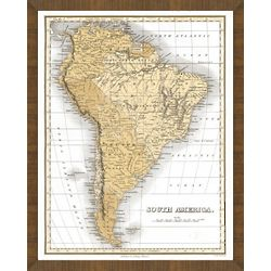 Old Map of South America Framed Print