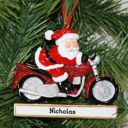 Santa Motorcylin' Personalized Ornament