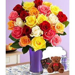 Two Dozen Birthday Roses with Chocolates, Spa Trio & Teddy Bear