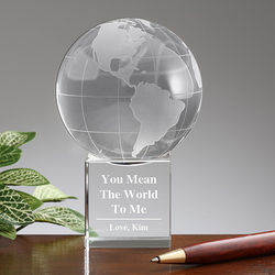 You Mean the World to Me Personalized Crystal Globe