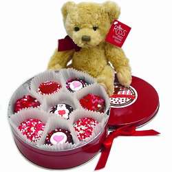 Chocolate Valentine Oreo Cookies Tin with Teddy Bear