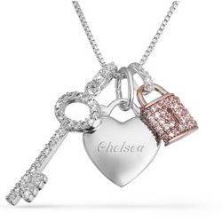 Personalized Pink Padlock and Key Cubic Zirconia Necklace