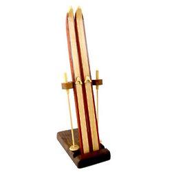 Wooden Skis Desktop Sculpture