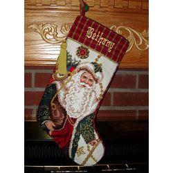 Personalized Needlepoint St. Nick Stocking with Tassle
