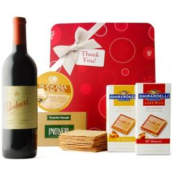 Thank You with Tempting Treats Wine and Cheeese Gift Box