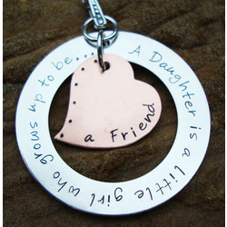 Daughter to Friend Hand Stamped Copper and Sterling Necklace