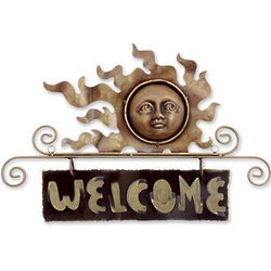 Peaceful Welcome Iron Sun Welcome Sign