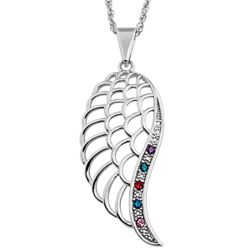 Family Birthstone Angel Wing Pendant