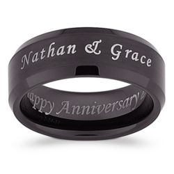 Outside/Inside Engraved Black Tungsten Satin Band with Bevel