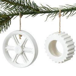 Porcelain Wheel or Cog Ornament