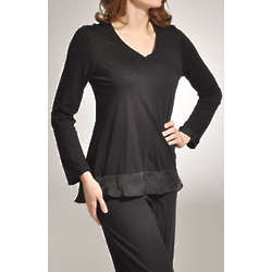 Solid V Neck Sleepwear Swing Top