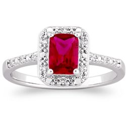 Sterling Platinum Over Sterling Faux Ruby and CZ Ring