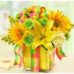 All Wrapped Up Yellow Floral Arrangement