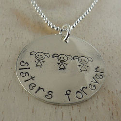 Sisters Forever Personalized Hand Stamped Necklace