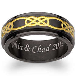Engraved Black and Gold Titanium Celtic Spinner Band