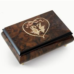 Walnut Tone Swans in Heart Outline 22 Note Music Box