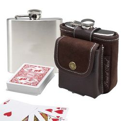 Hip Flask and Playing Cards Carrier