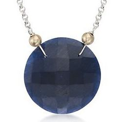 Sapphire Necklace in Two-Tone Metal