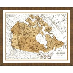 Old Map of Canada Framed Print