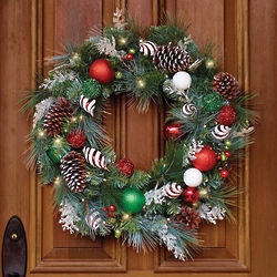Cordless Pre-Lit Festive Twist Holiday Wreath