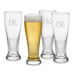 Pilsner Glassware Set with Monogram