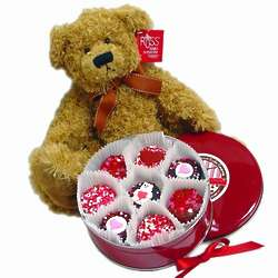 Belgian Chocolate Oreos Sweetheart Tin with Teddy Bear