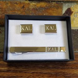 Personalized Brushed Finish SIlver Tone Tie Clip and Cufflinks