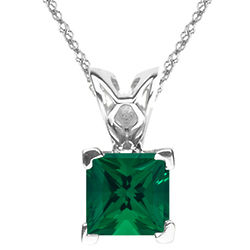 3mm Princess Lab Created Emerald Scroll Solitaire Pendant