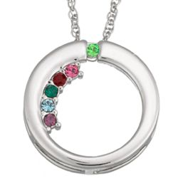 Personalized Sterling Silver Mother's Birthstone Circle Pendant