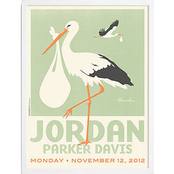 Baby's Stork Personalized Wall Art