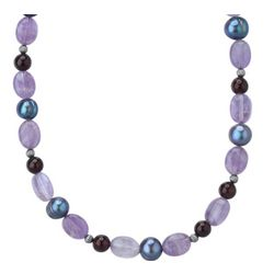 Gray Pearl, Amethyst and Red Garnet Beaded Necklace