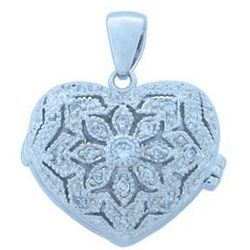 Sterling Silver Heart Locket Pendant with Cubic Zirconia Stones