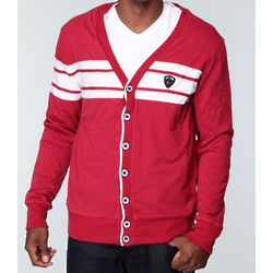 Red Slub Jersey Cardigan