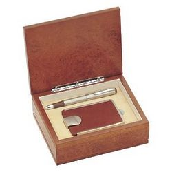 Leather Business Card Case with Pen Gift Set