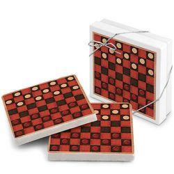 King Me Stone Checkerboard Coasters