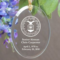 Personalized U.S. Air Force Memorial Oval Glass Ornament