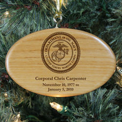 Engraved Marines Memorial Wooden Oval Ornament