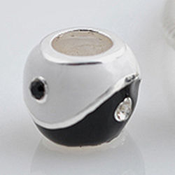 Black White Ying Yang Cubic Zirconia Charm Bead