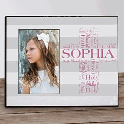 Personalized First Communion Picture Frame with Text Art Cross