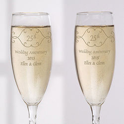 Anniversary Toast Personalized Flute Set