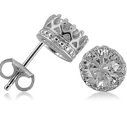 Crown Set Round CZ Sterling Silver Solitaire Earrings