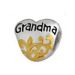 Grandma Silver Heart European Charm Bead