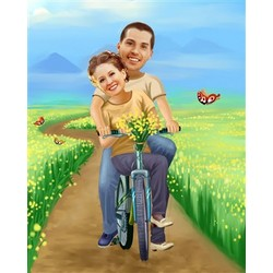 Riding Thru the Fields Caricature from Photos
