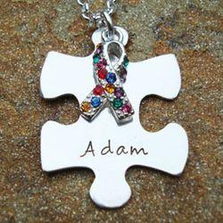 Autism Awareness Puzzle Piece Personalized Necklace