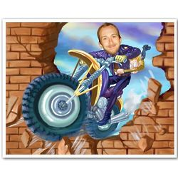 Motorcycle Stuntman Caricature 8x10 Print From Photo