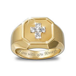 Devotion Diamond Men's Cross Ring with Engraved Message