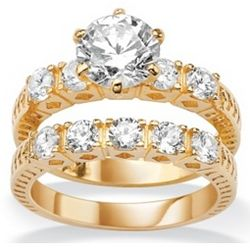 18k Gold Over Sterling Silver Cubic Zirconia Wedding Ring