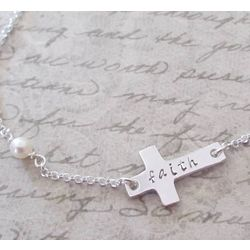 Personalized Hand Stamped Sideways Cross Necklace