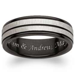 Personalized Black Titanium Two-Tone Groove Engraved Band